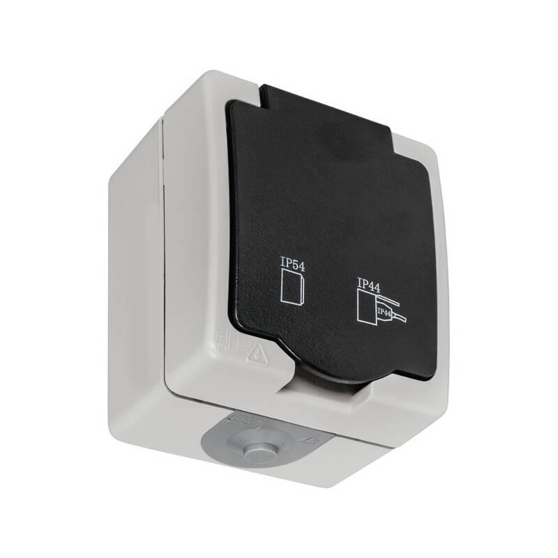 schutzkontakt steckdose 1 fach aufputz feuchtraum ip54. Black Bedroom Furniture Sets. Home Design Ideas