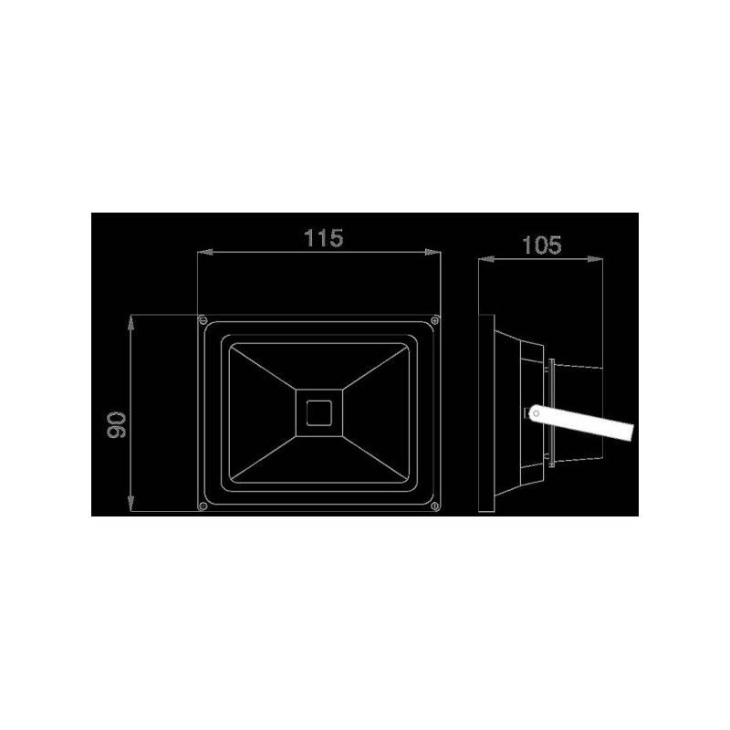 led fluter outdoor 10w gelb 230v ac ip65 dimmbar schwarz eek a 27 50. Black Bedroom Furniture Sets. Home Design Ideas