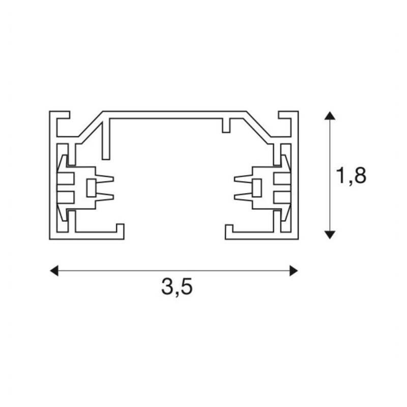 SLV 1Phasen Aufbauschiene Schiene zur Montage an Wand oder Decke 3 Meter silbergrau Stromschienen-System Anschluss f/ür 1P Schienen-Strahler Aufbau-Schiene Hochvolt-Stromschiene